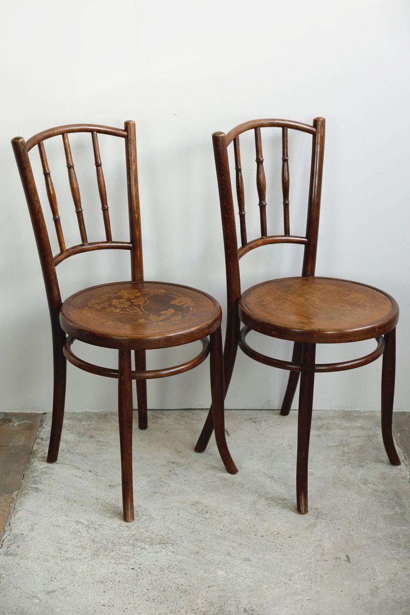 bugholz st hle mit blumen sitz 1910er 2er set bei pamono kaufen. Black Bedroom Furniture Sets. Home Design Ideas