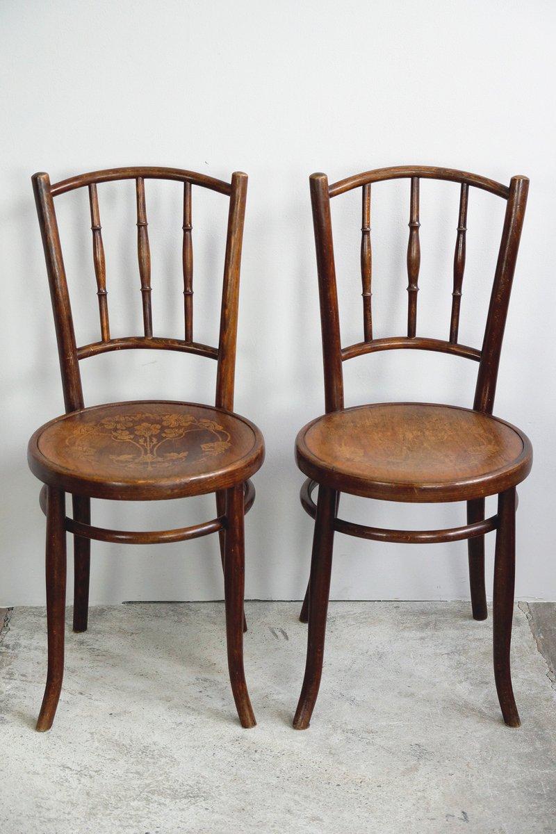 bugholz st hle mit blumen sitz 1910er 2er set bei pamono. Black Bedroom Furniture Sets. Home Design Ideas