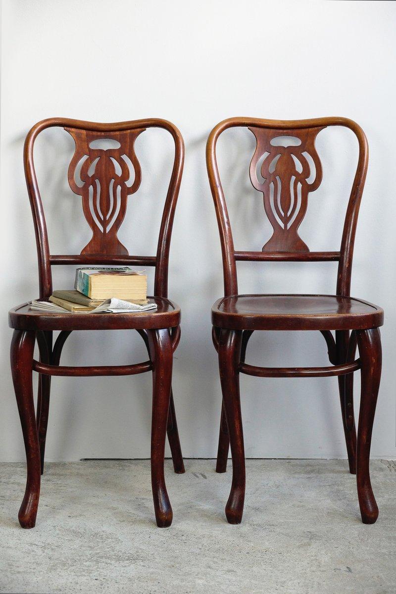 bugholz st hle mahagoni gebeizt 1920er 2er set bei. Black Bedroom Furniture Sets. Home Design Ideas