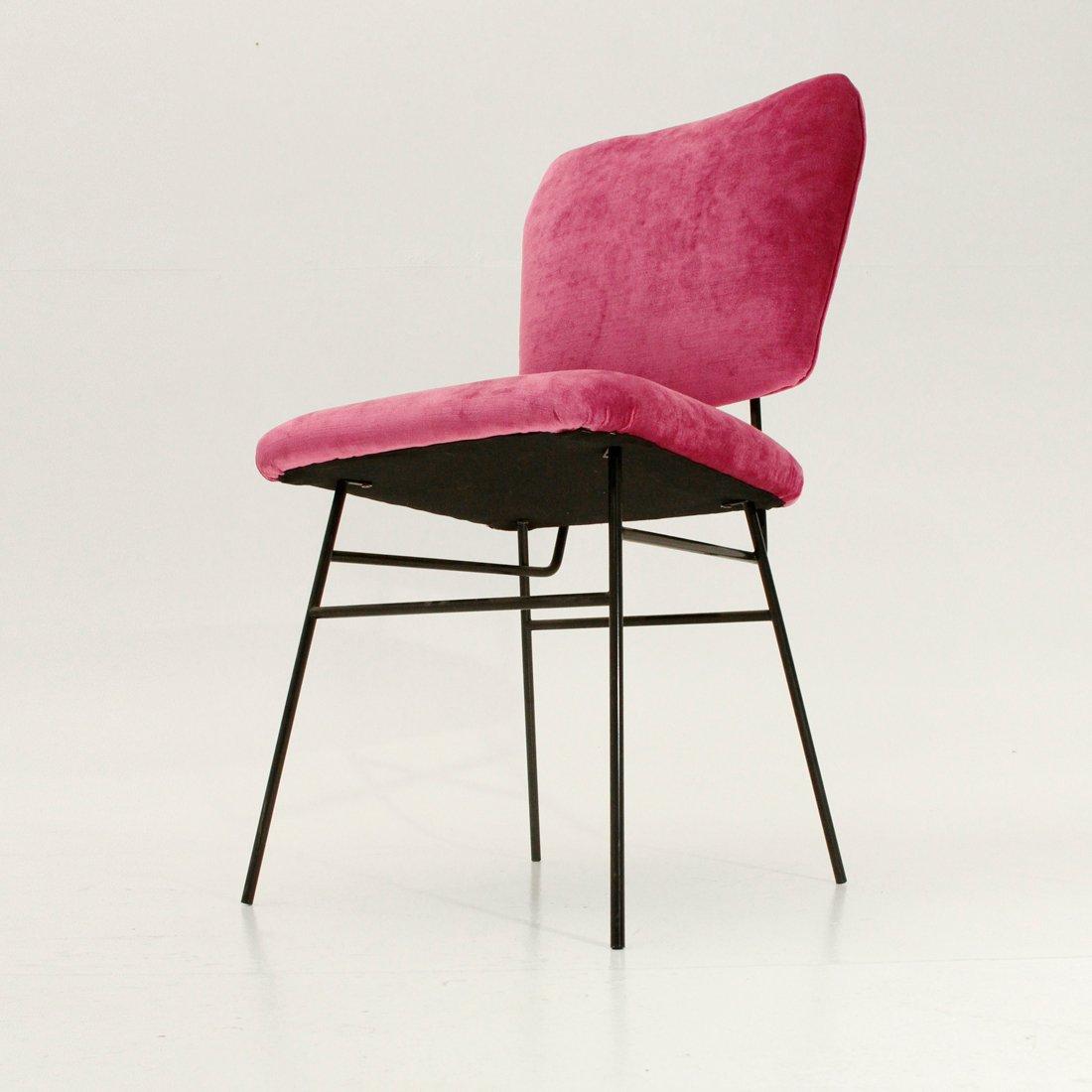 italienischer stuhl mit samtbezug in pink 1950er bei. Black Bedroom Furniture Sets. Home Design Ideas