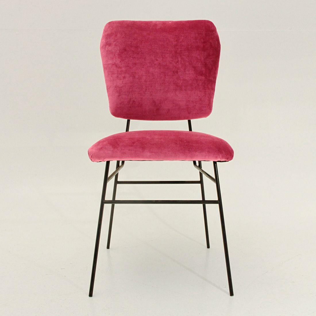 italienischer stuhl mit samtbezug in pink 1950er bei pamono kaufen. Black Bedroom Furniture Sets. Home Design Ideas