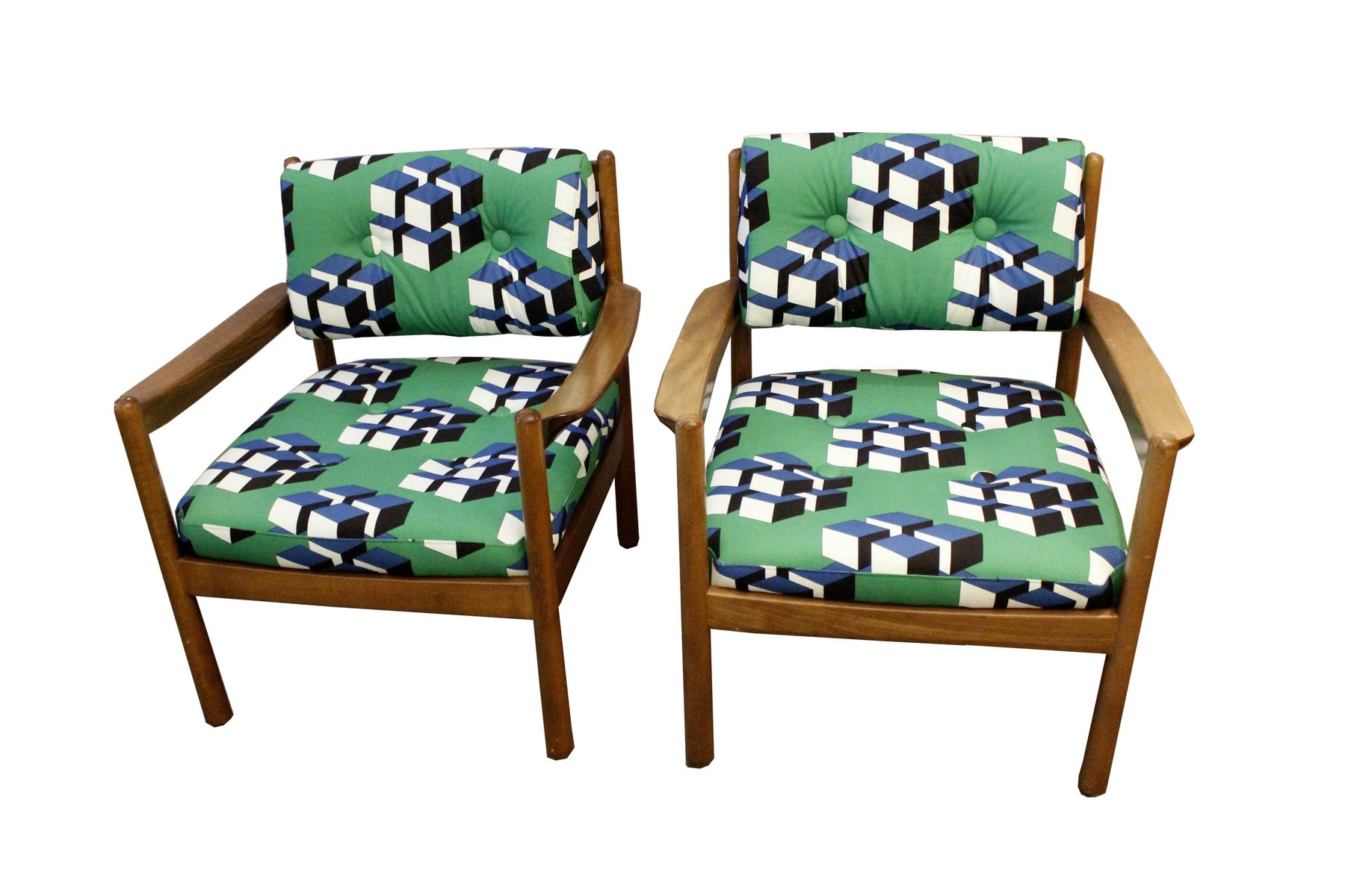 Vintage upholstered armchairs set of 2 for sale at pamono for 2 armchairs for sale