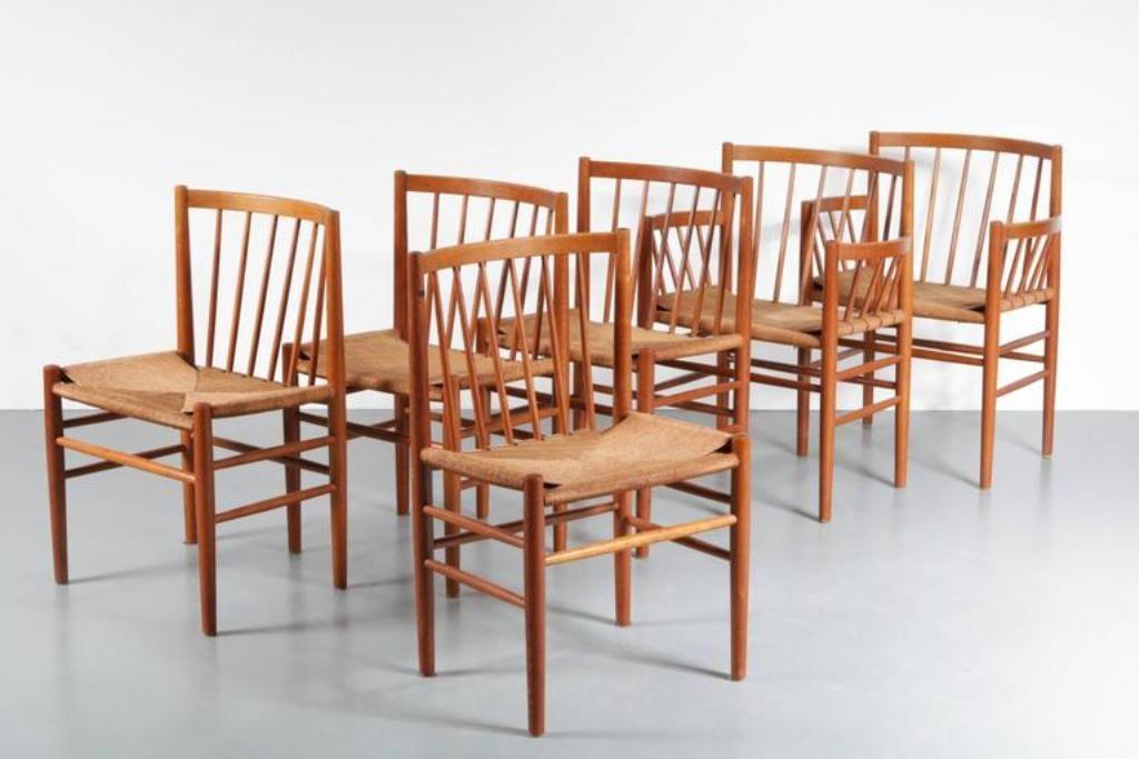esszimmer st hle von j rgen b kmark f r fdm m bler in denmark 1950er 6er set bei pamono kaufen. Black Bedroom Furniture Sets. Home Design Ideas