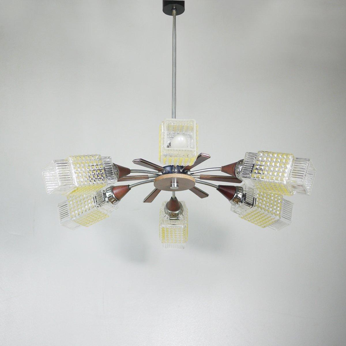 geometrischer vintage kronleuchter mit 6 leuchten bei pamono kaufen. Black Bedroom Furniture Sets. Home Design Ideas