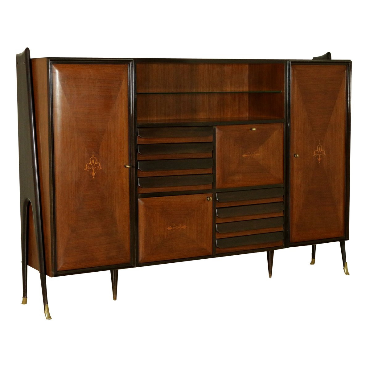 mid century sideboard aus palisander furnier messing. Black Bedroom Furniture Sets. Home Design Ideas