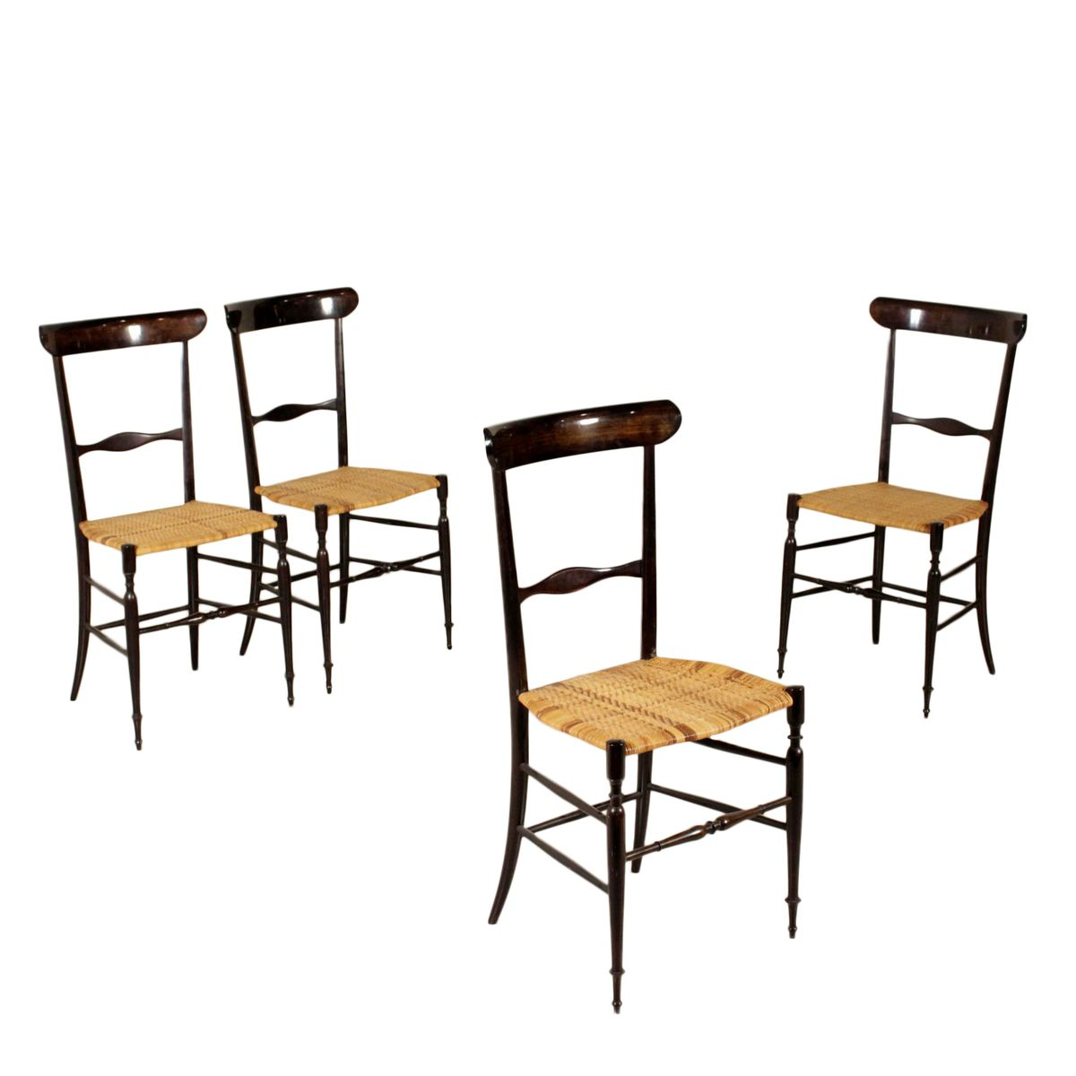 mid century chiavari st hle aus lackiertem holz 4 er set bei pamono kaufen. Black Bedroom Furniture Sets. Home Design Ideas