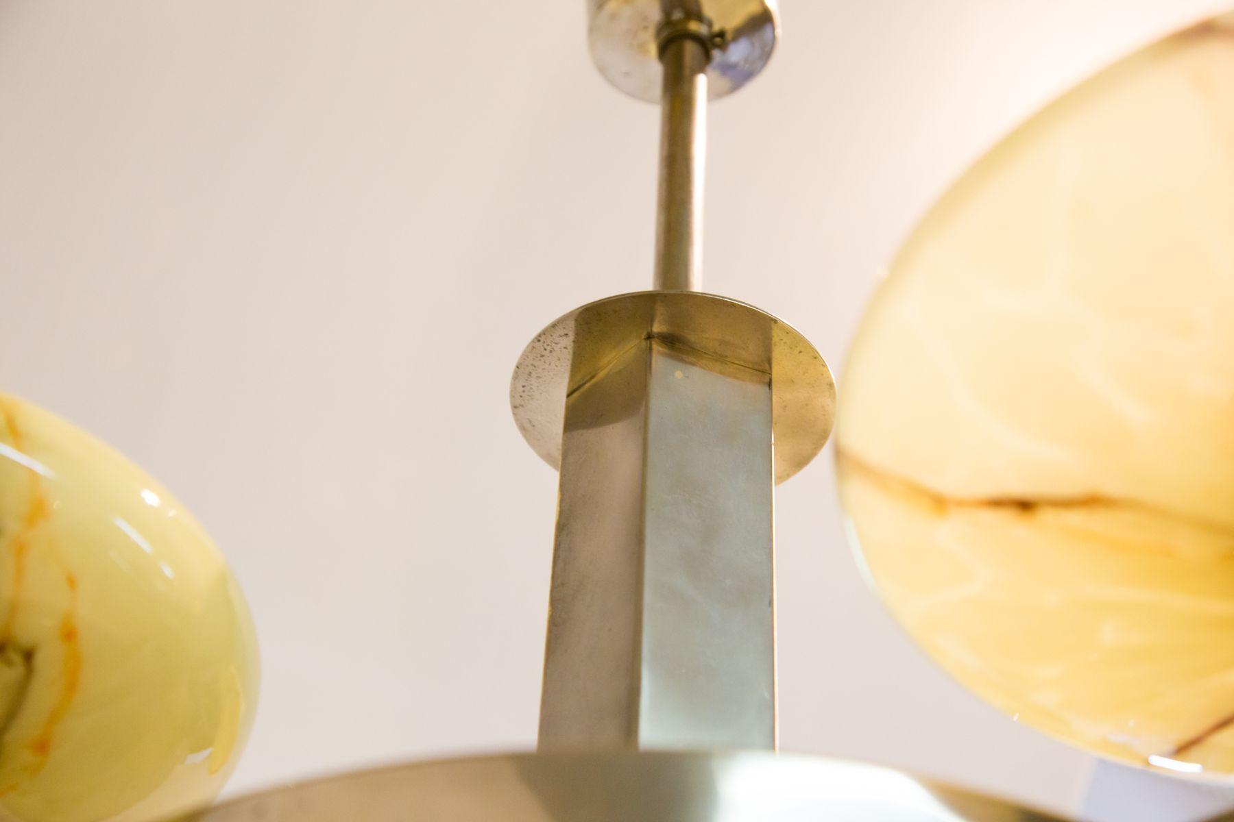 chandelier art d co avec structure plaqu e nickel et abat jour en verre en vente sur pamono. Black Bedroom Furniture Sets. Home Design Ideas