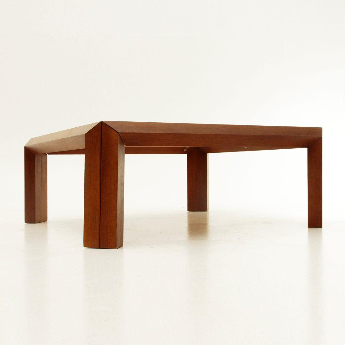 quadratischer italienischer couchtisch aus holz 1980er. Black Bedroom Furniture Sets. Home Design Ideas