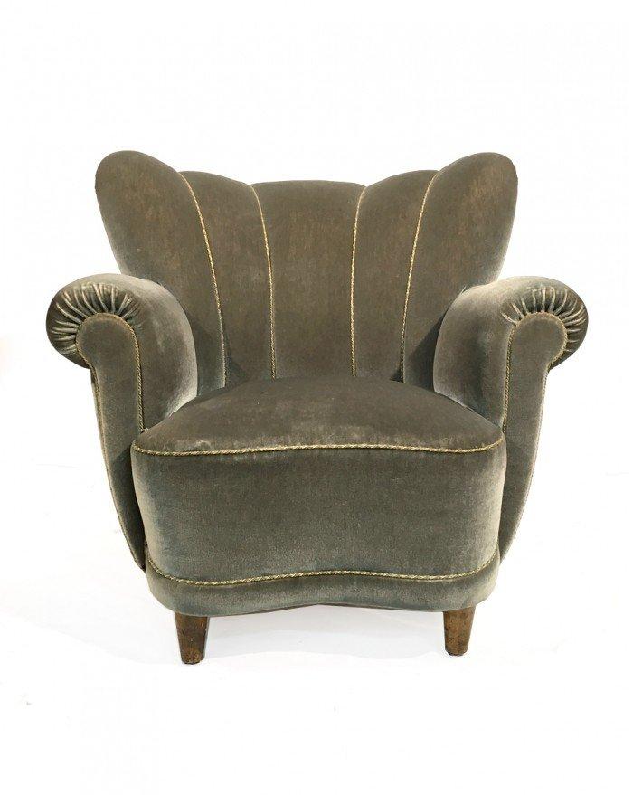 Green Swedish Velvet Wingback Chair, 1950s