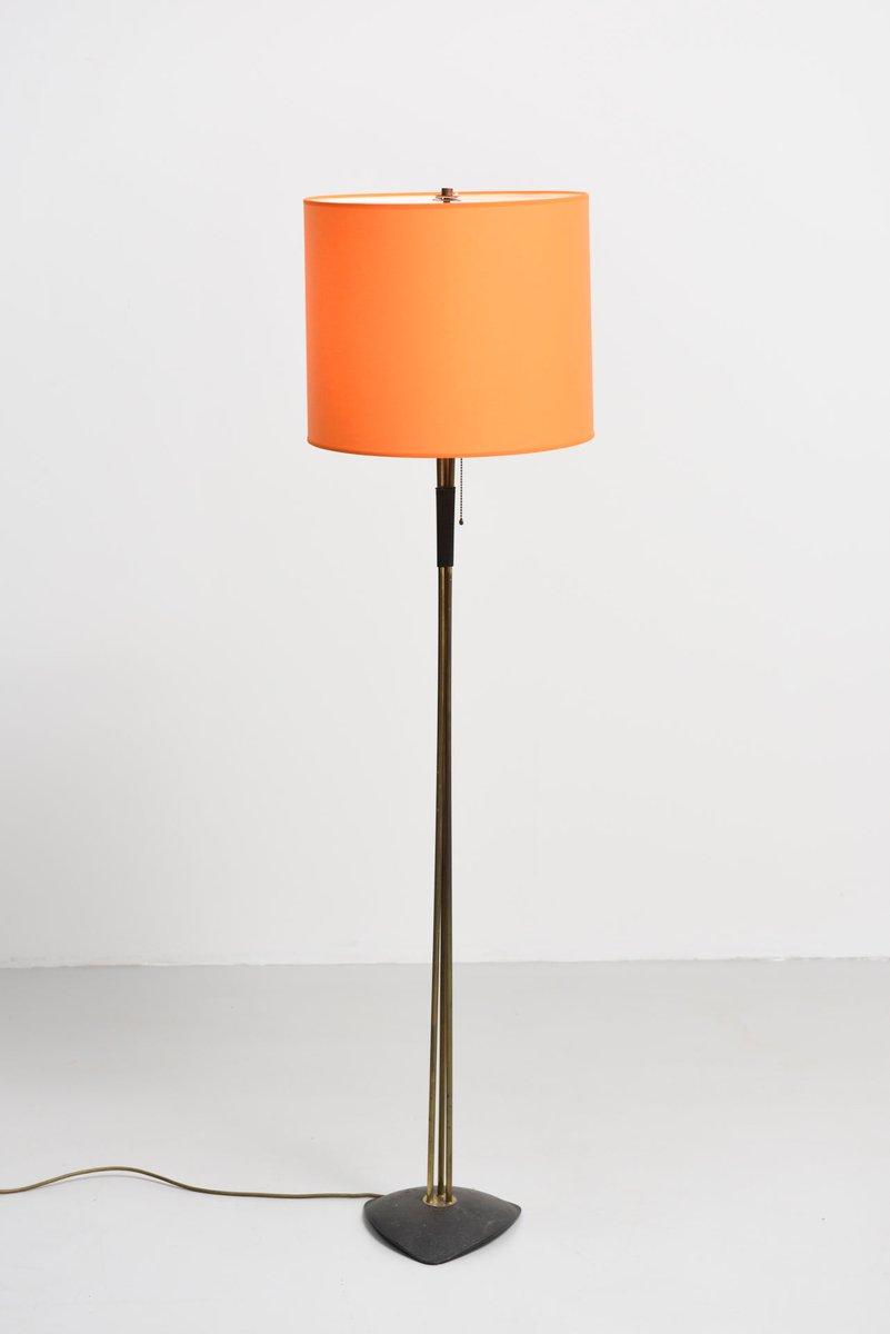 Floor lamp in brass with orange lampshade 1950s for sale for Orange metal floor lamp