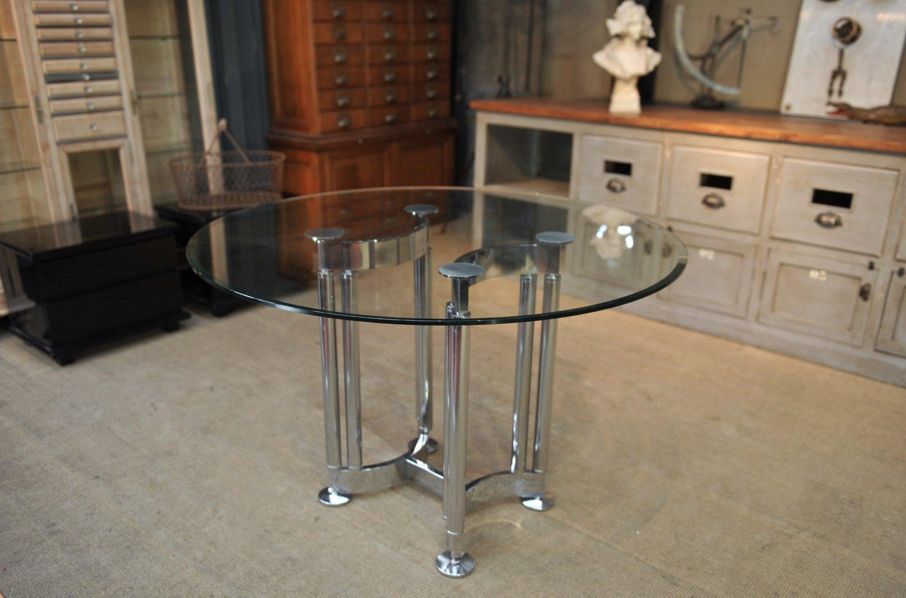 runder verchromter tisch aus metall glas 1970er bei. Black Bedroom Furniture Sets. Home Design Ideas