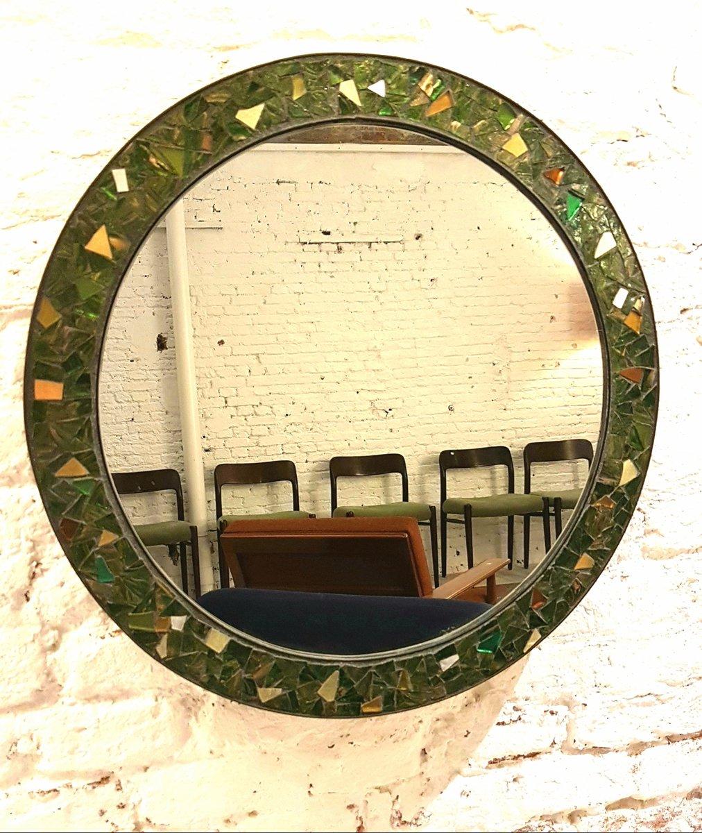 runder spiegel mit rahmen aus messing schmelzglas. Black Bedroom Furniture Sets. Home Design Ideas