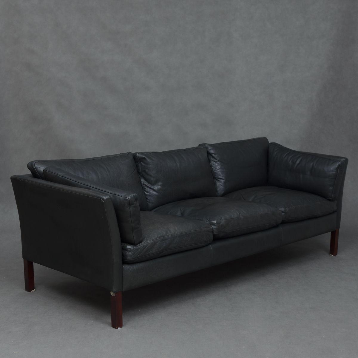 Vintage Black Leather Sofa Teachfamilies Org ~ Vintage Black Leather Sofa