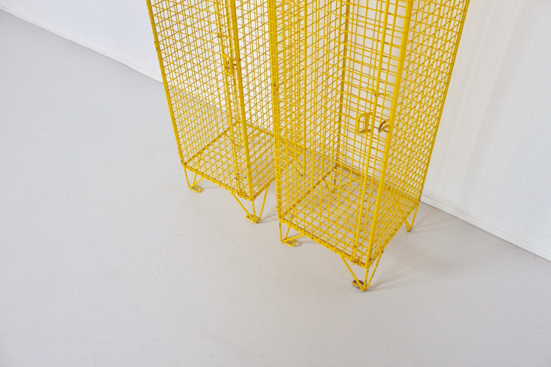 industrieller gelber vintage spind aus metalldraht bei pamono kaufen. Black Bedroom Furniture Sets. Home Design Ideas
