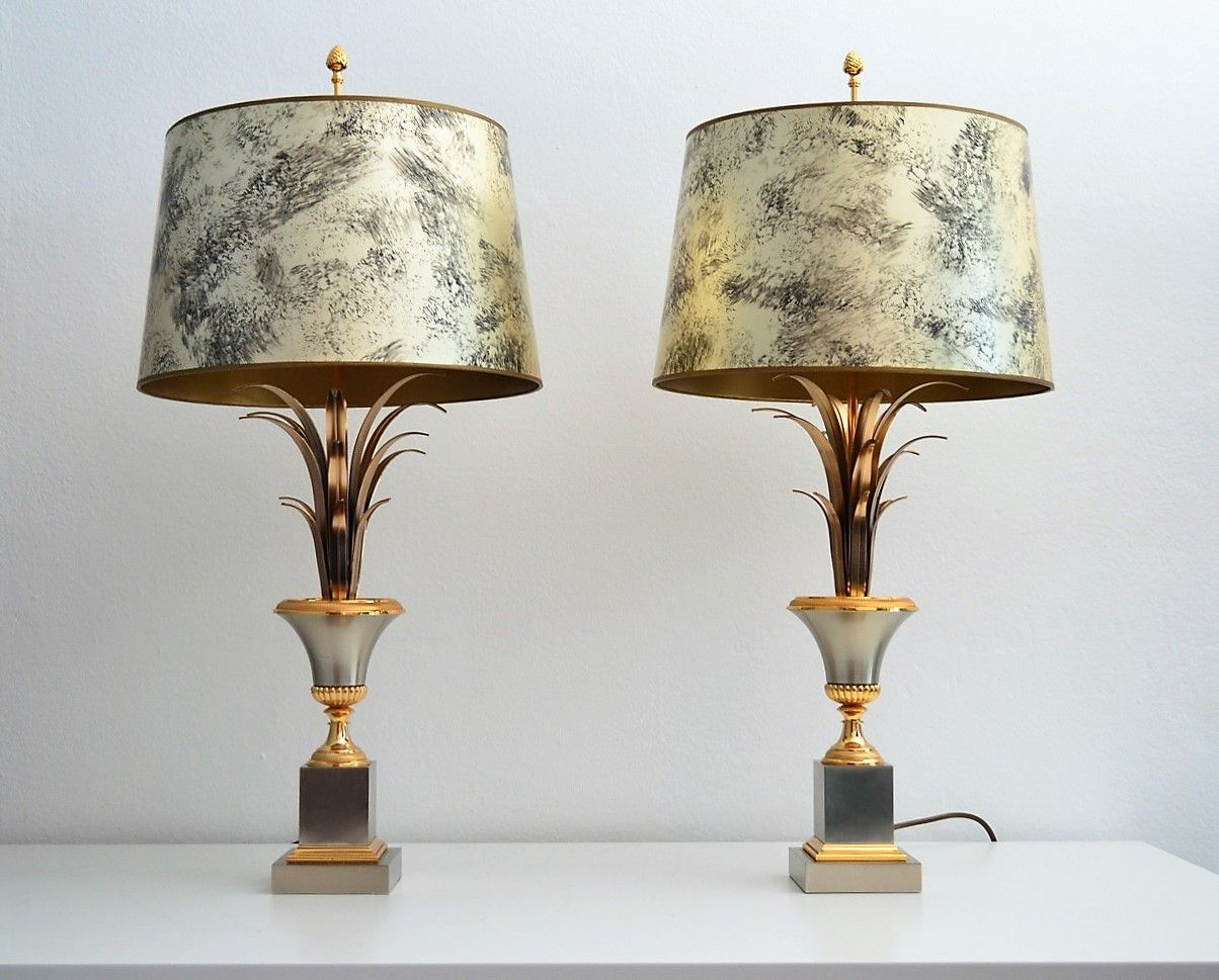French regency palm leaf table lamps from maison charles 1960s set french regency palm leaf table lamps from maison charles 1960s set of 2 aloadofball Choice Image