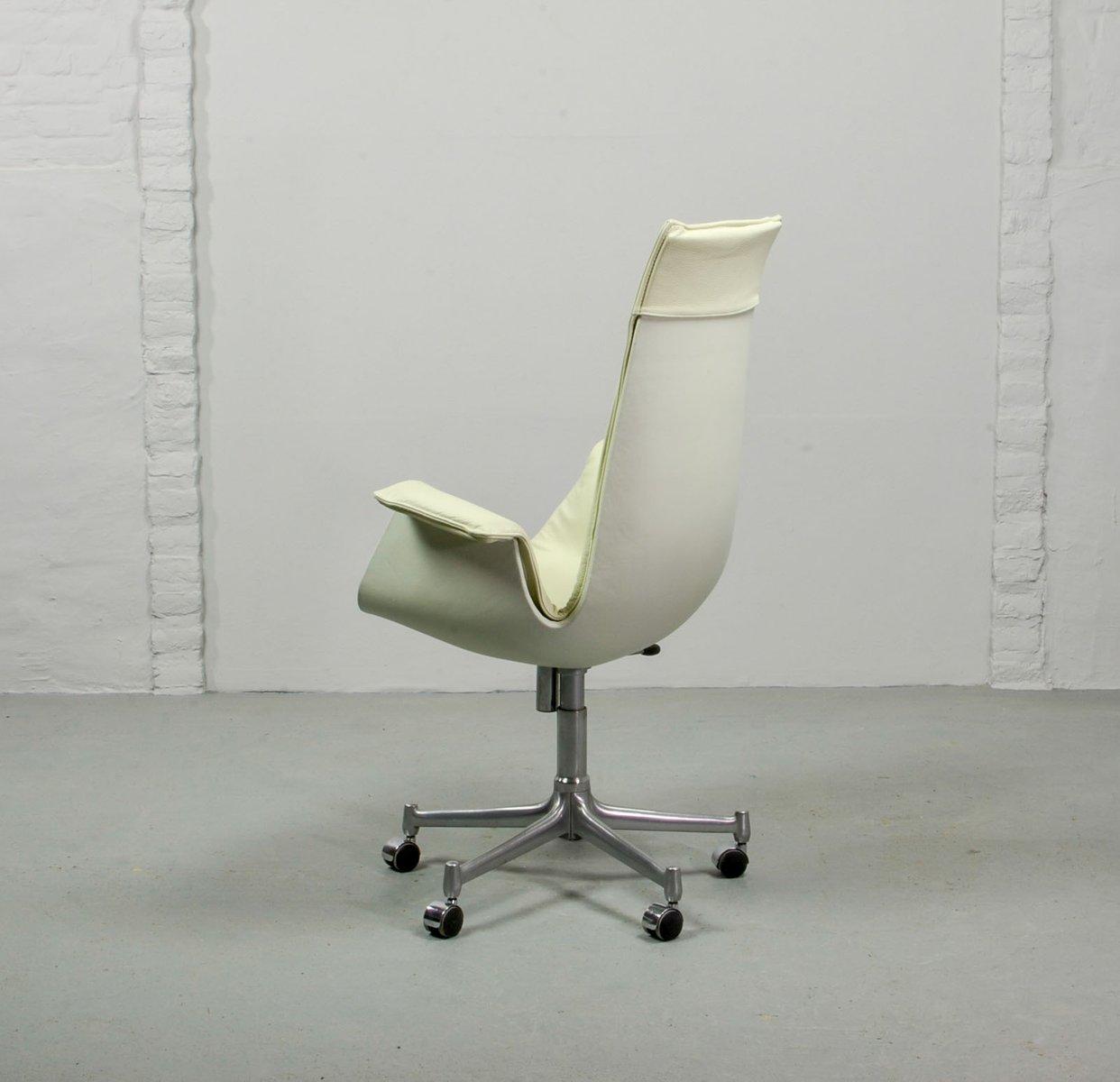 Sedia Bird in pelle bianca di Preben Fabricius e Jørgen Kastholm per ...