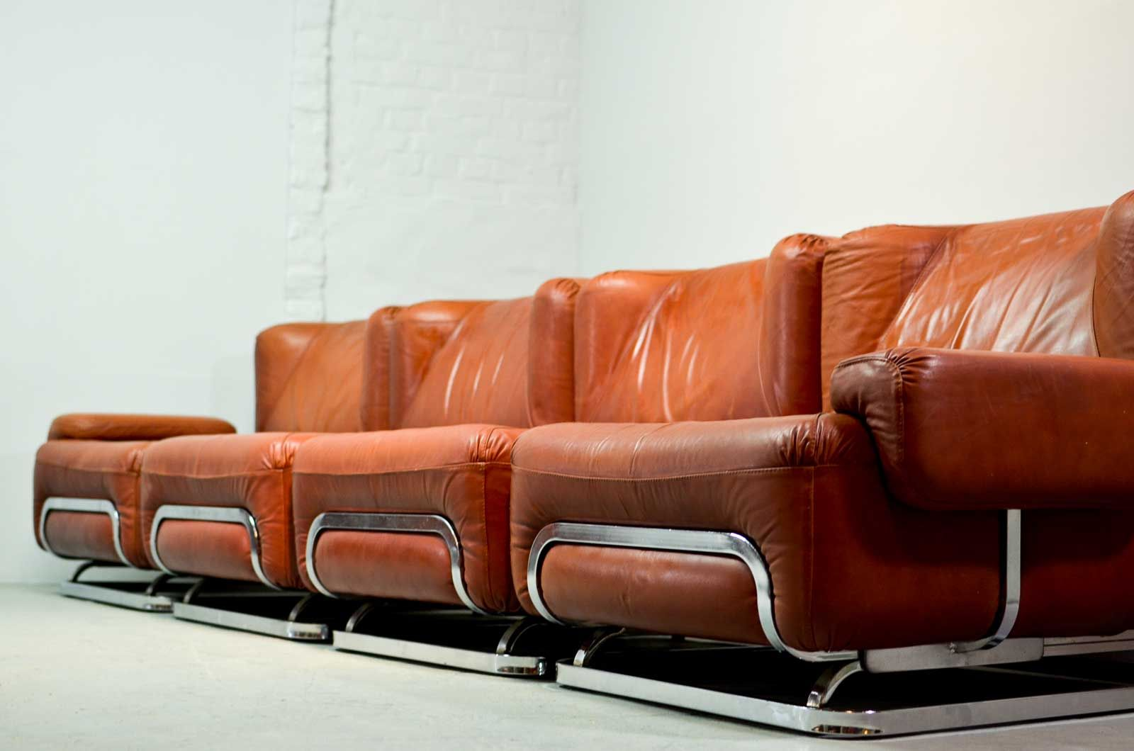 Mid century leather 4 seater sofa and lounge chair 1970s for Leather sofa 7 seater