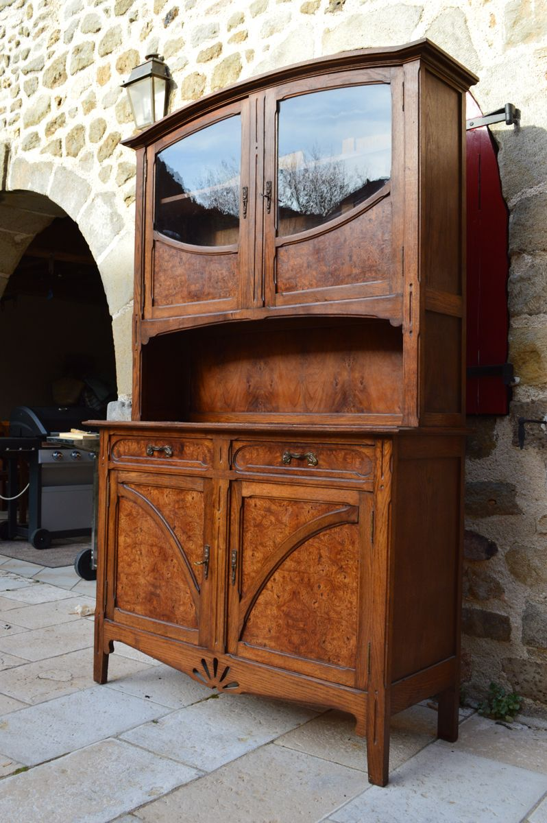 antique art nouveau style 2 part buffet in oak and glass for sale at pamono. Black Bedroom Furniture Sets. Home Design Ideas
