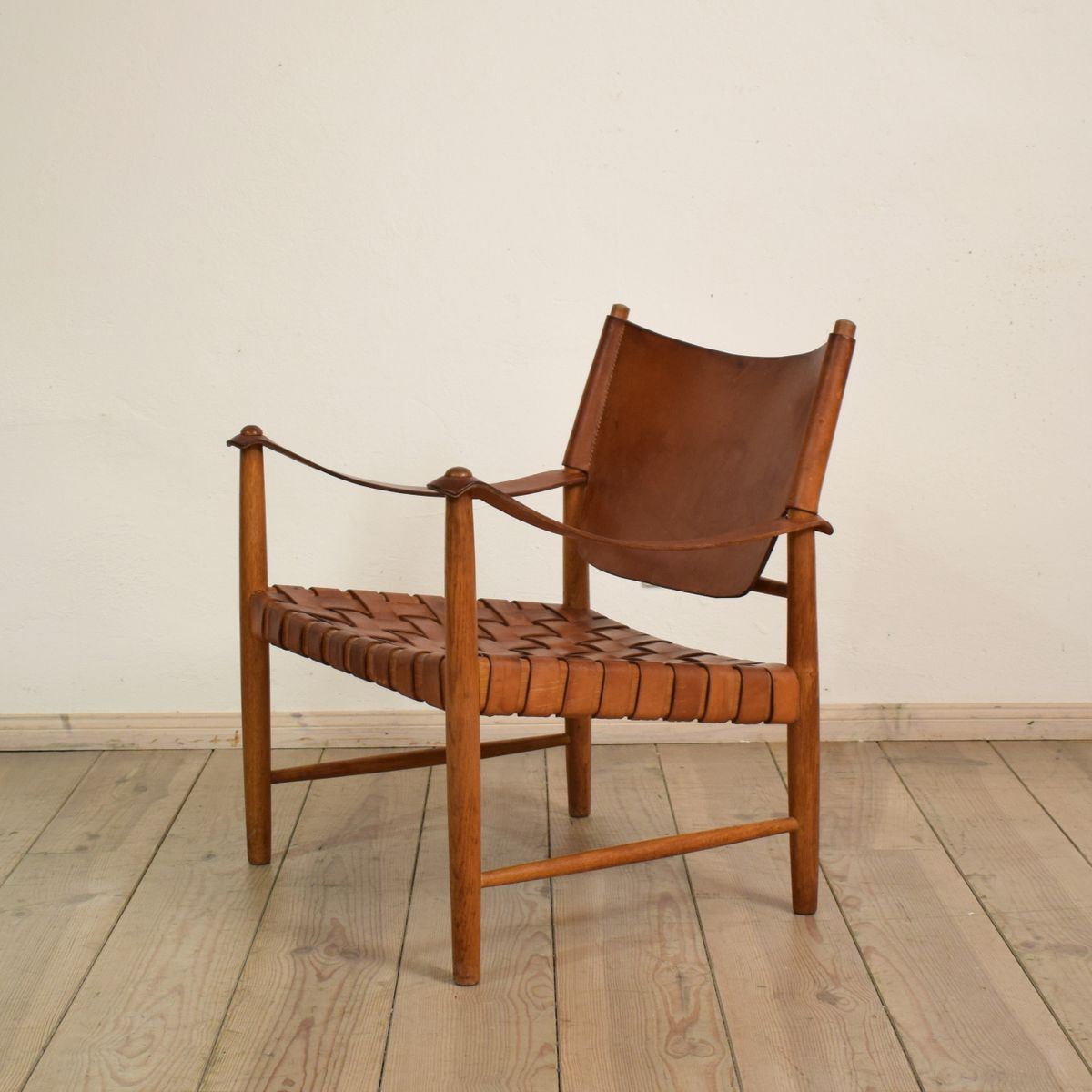 Mid Century Leather Safari Chair, 1950s For Sale At Pamono