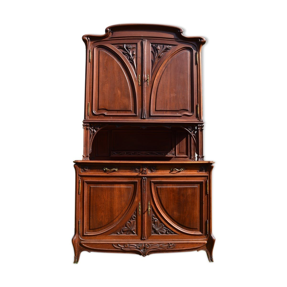 art nouveau solid walnut double section buffet 1900s for sale at pamono. Black Bedroom Furniture Sets. Home Design Ideas