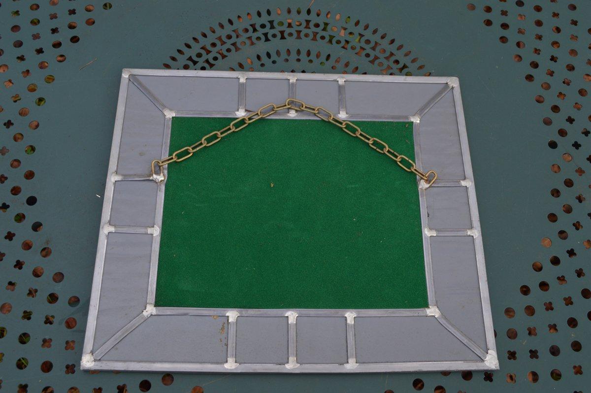 Vintage Spiegel mit Leuchtendem Grünen Glas Rahmen bei Pamono kaufen