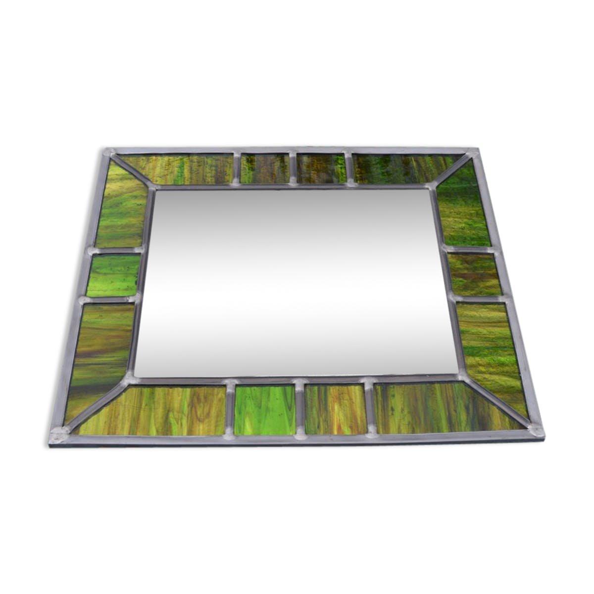 Espejo vintage con marco de vitral verde iridiscente en venta en Pamono