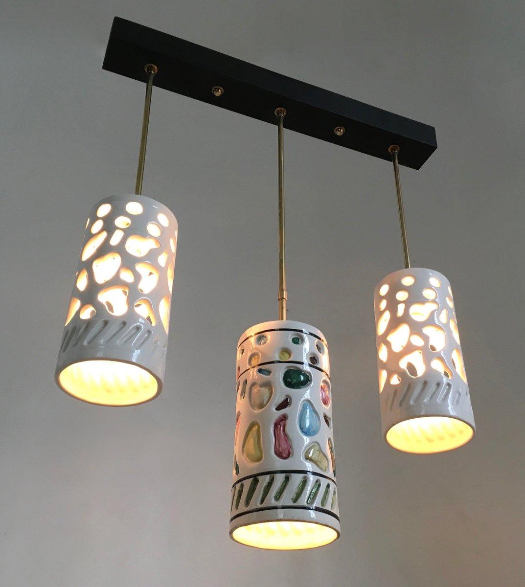 Italian ceramic chandelier chandelier designs italian ceramic brass ceiling lamp 1950s for at pamono arubaitofo Image collections