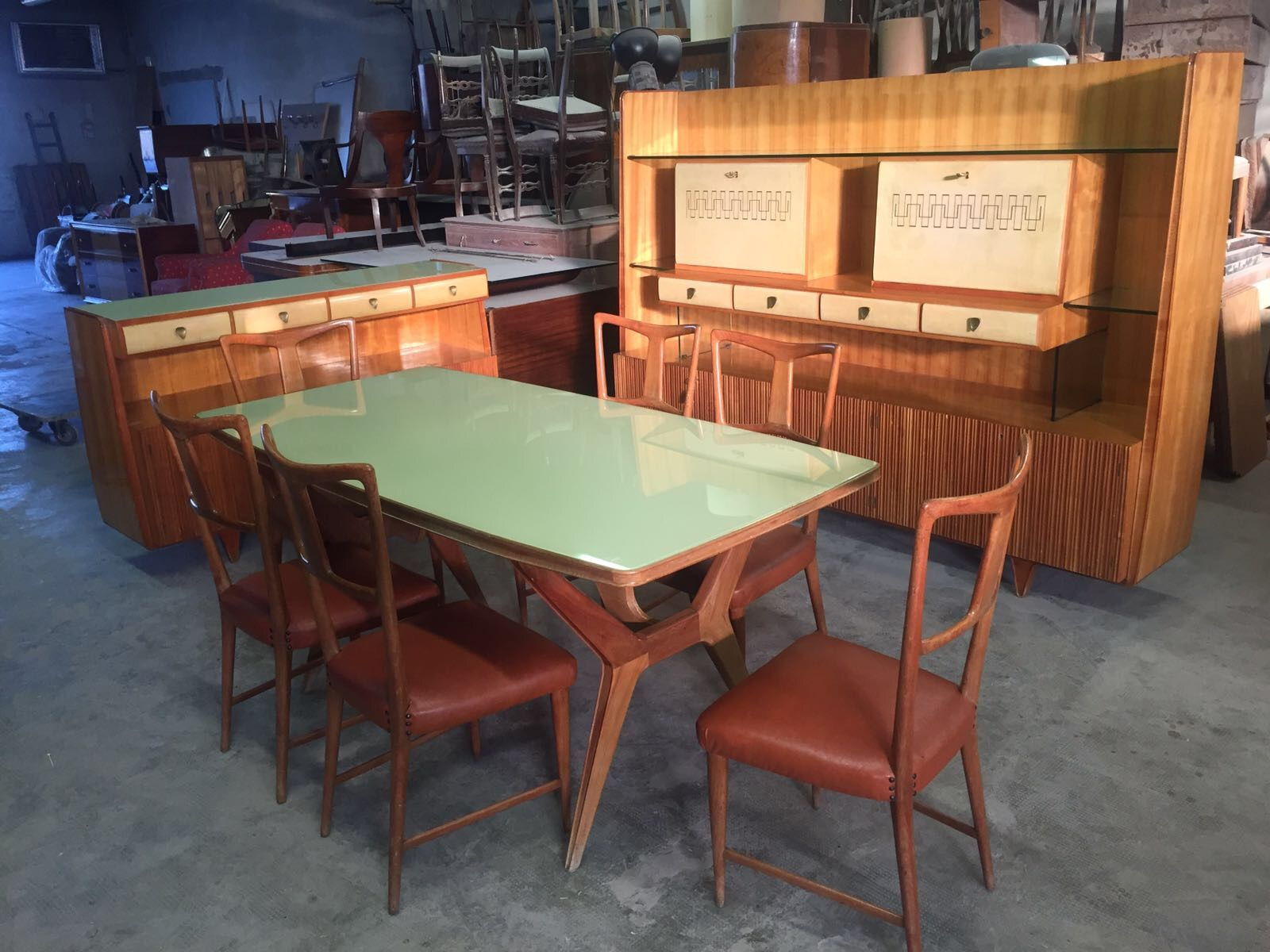 Italian Dining Room Set By Gio Ponti For La Permanente Mobili Cantu, 1940s,  Set Of 9