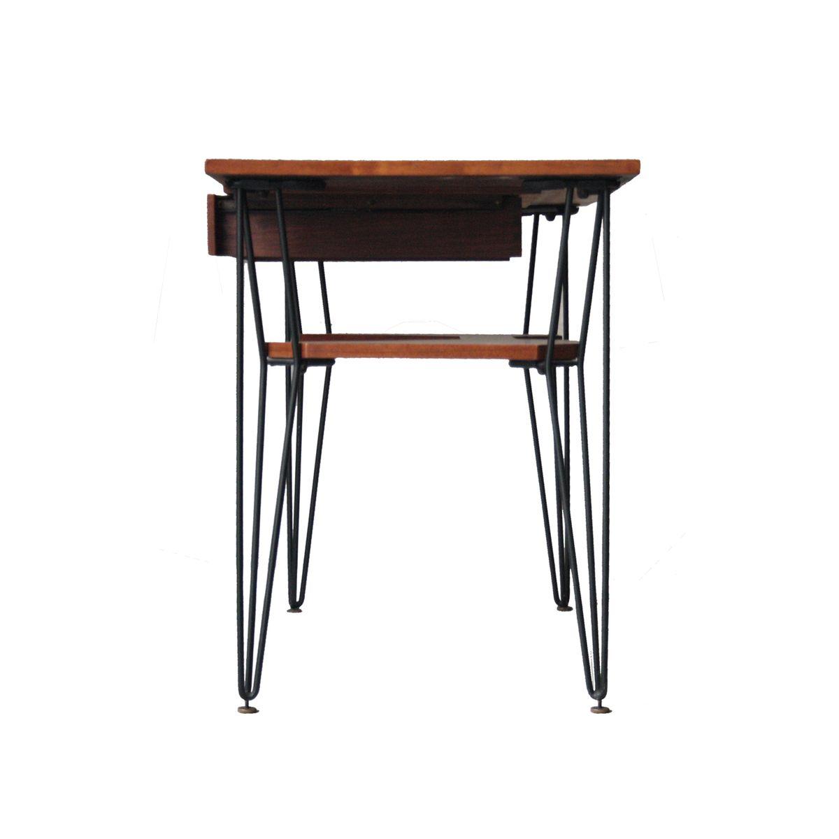 italienischer schreibtisch aus palisander mit tischbeinen aus metall 1950er bei pamono kaufen. Black Bedroom Furniture Sets. Home Design Ideas
