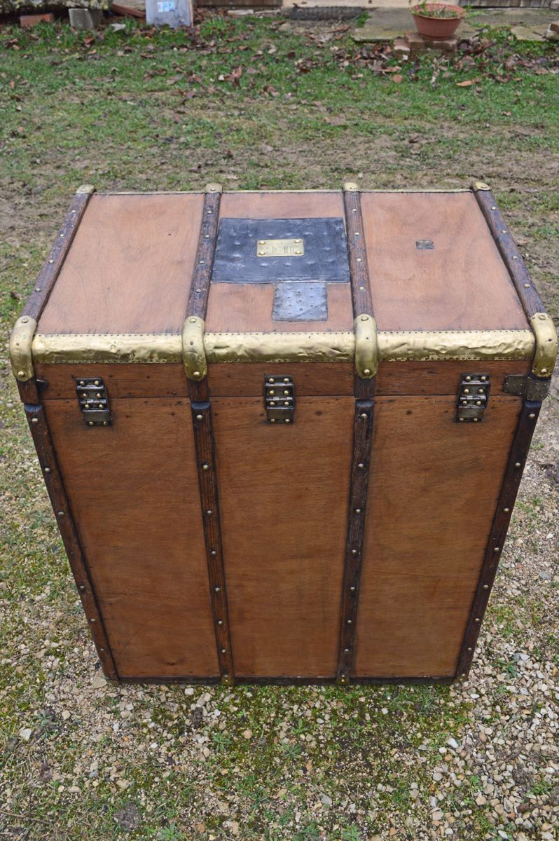 double travel trunk from larcher brousse 1900s for sale at pamono. Black Bedroom Furniture Sets. Home Design Ideas