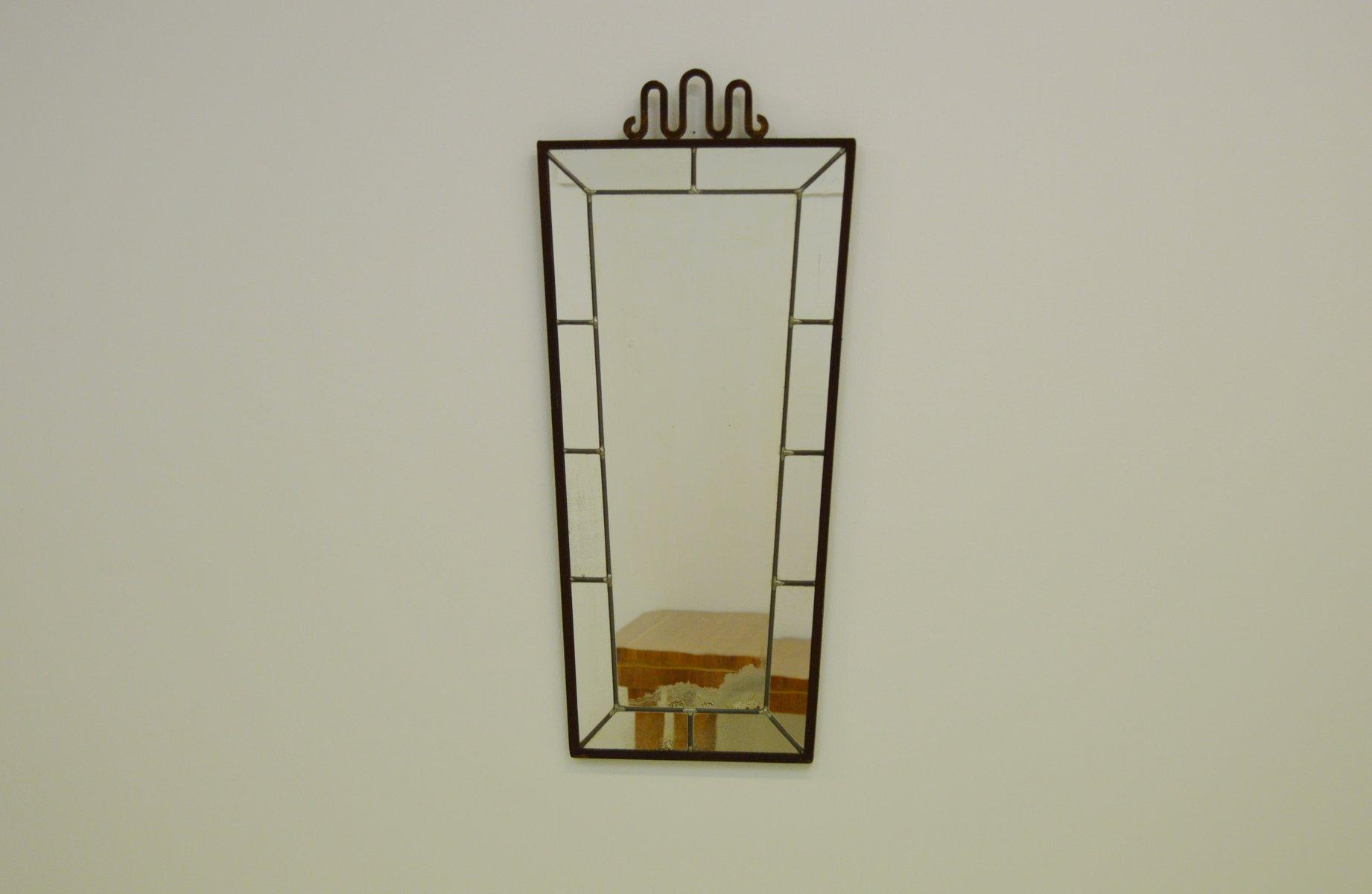 spiegel mit rahmen aus schmiedeeisen 1930er bei pamono kaufen. Black Bedroom Furniture Sets. Home Design Ideas