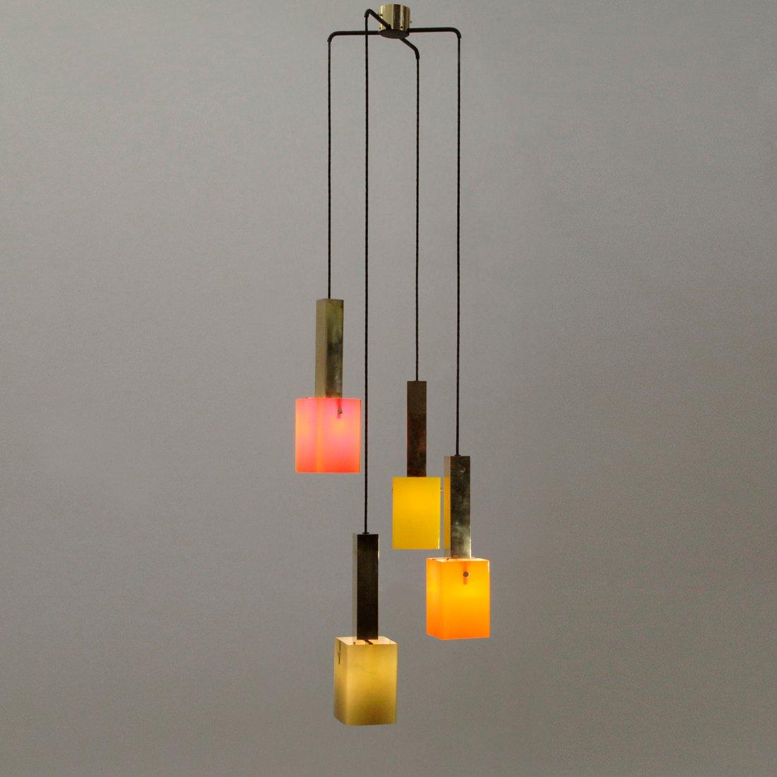 kronleuchter aus messing glas von stilnovo 1950er bei. Black Bedroom Furniture Sets. Home Design Ideas