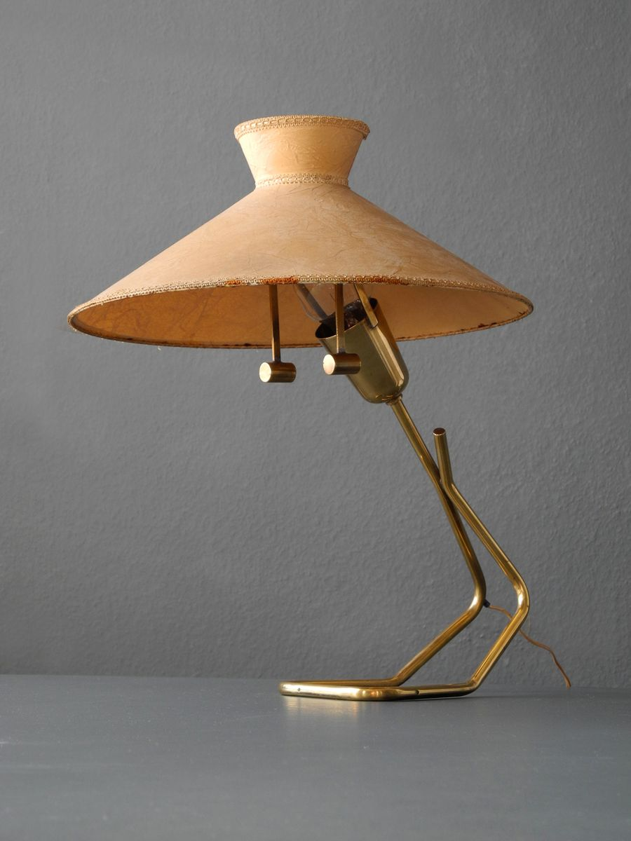 Large brass table lamp with vellum shade from vereinigte werksttten large brass table lamp with vellum shade from vereinigte werksttten 1950s aloadofball Choice Image