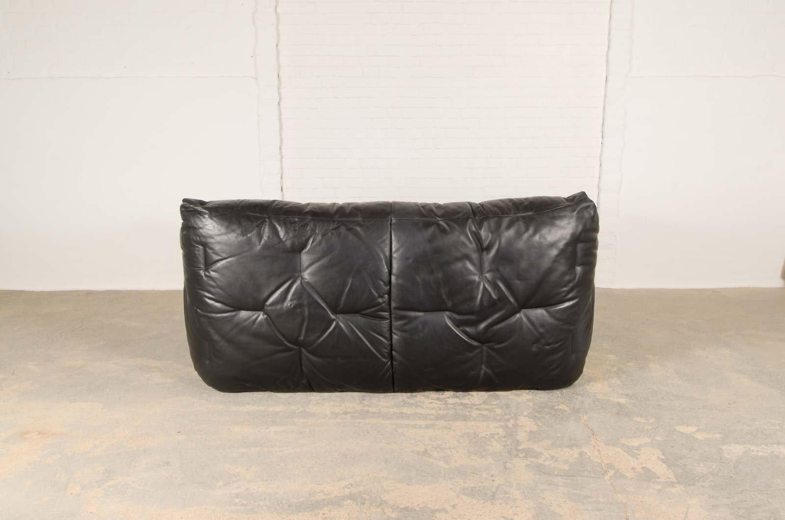 vintage black leather soft shell sofa by hans hopfer for. Black Bedroom Furniture Sets. Home Design Ideas