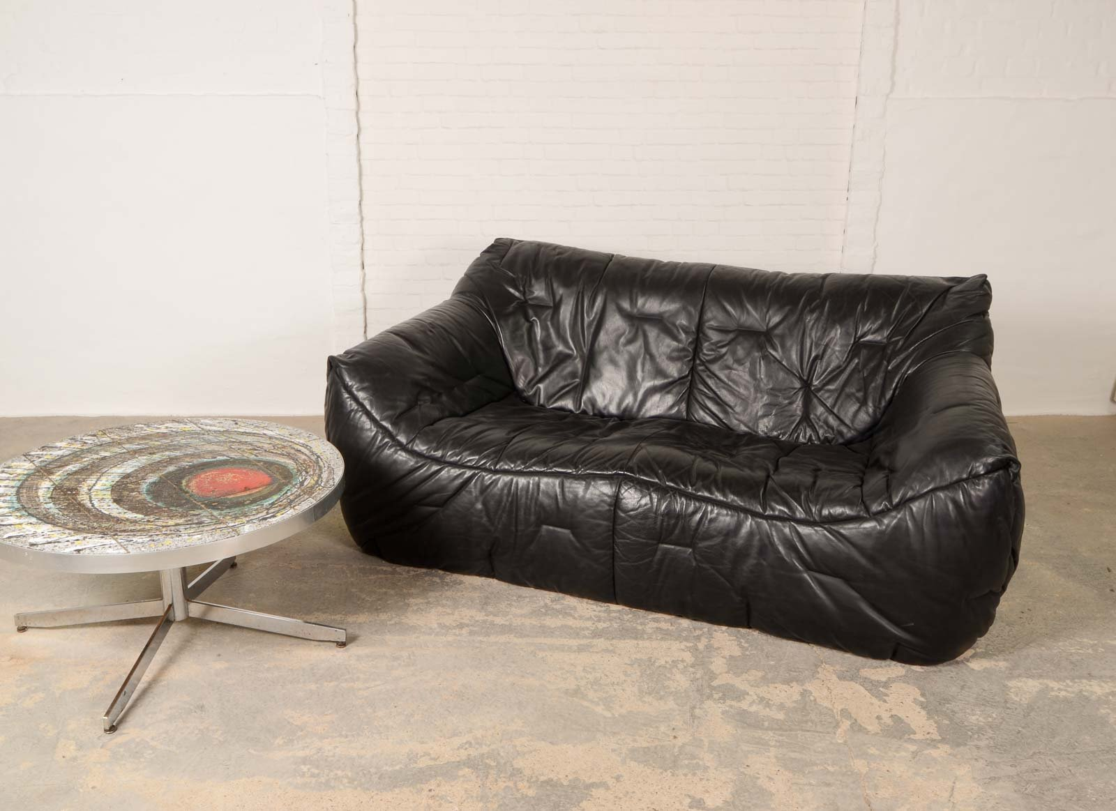 Vintage Black Leather Soft Shell Sofa By Hans Hopfer For Roche Bobois