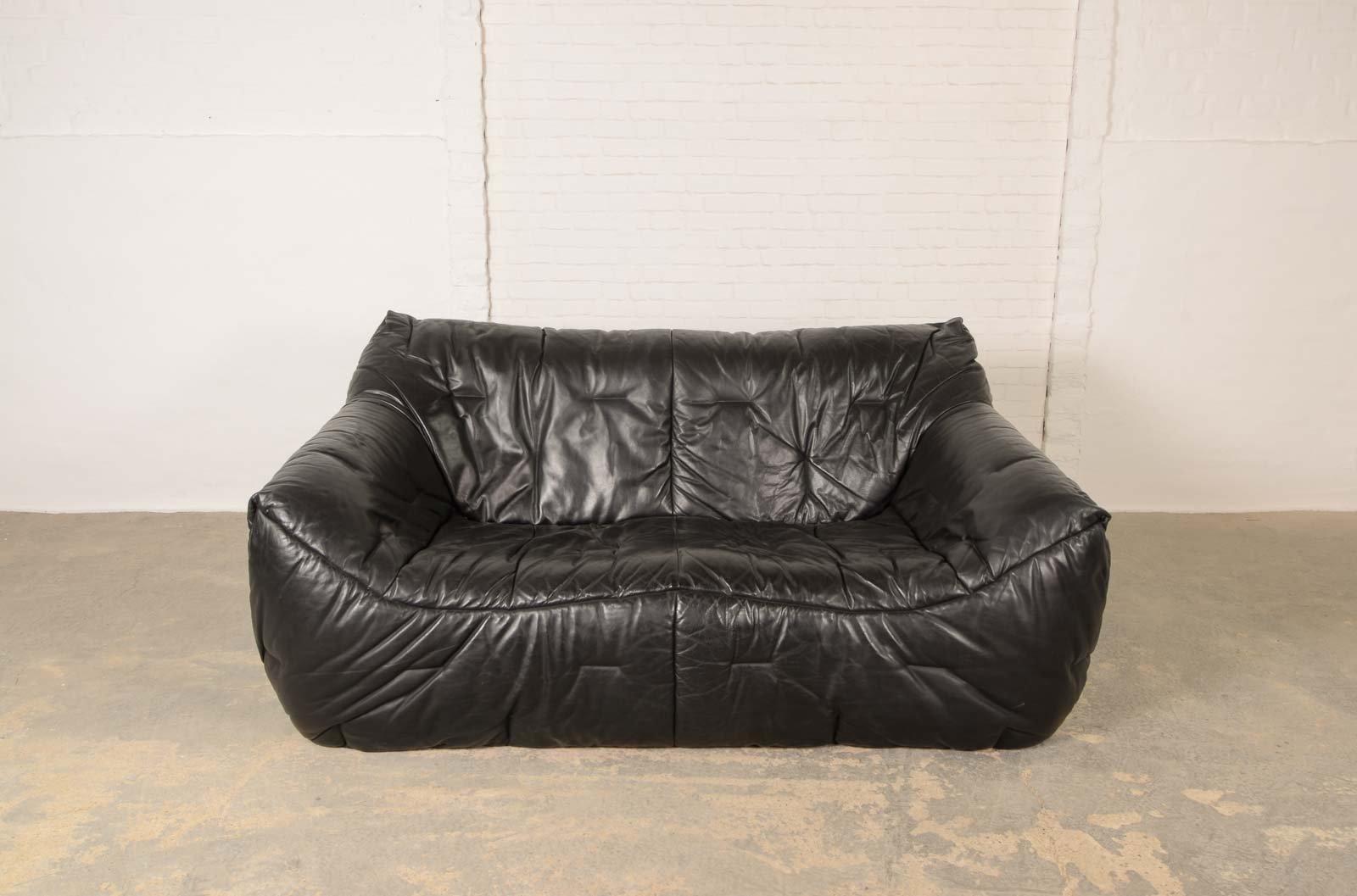 Vintage Black Leather Soft Shell Sofa By Hans Hopfer For Roche Bobois