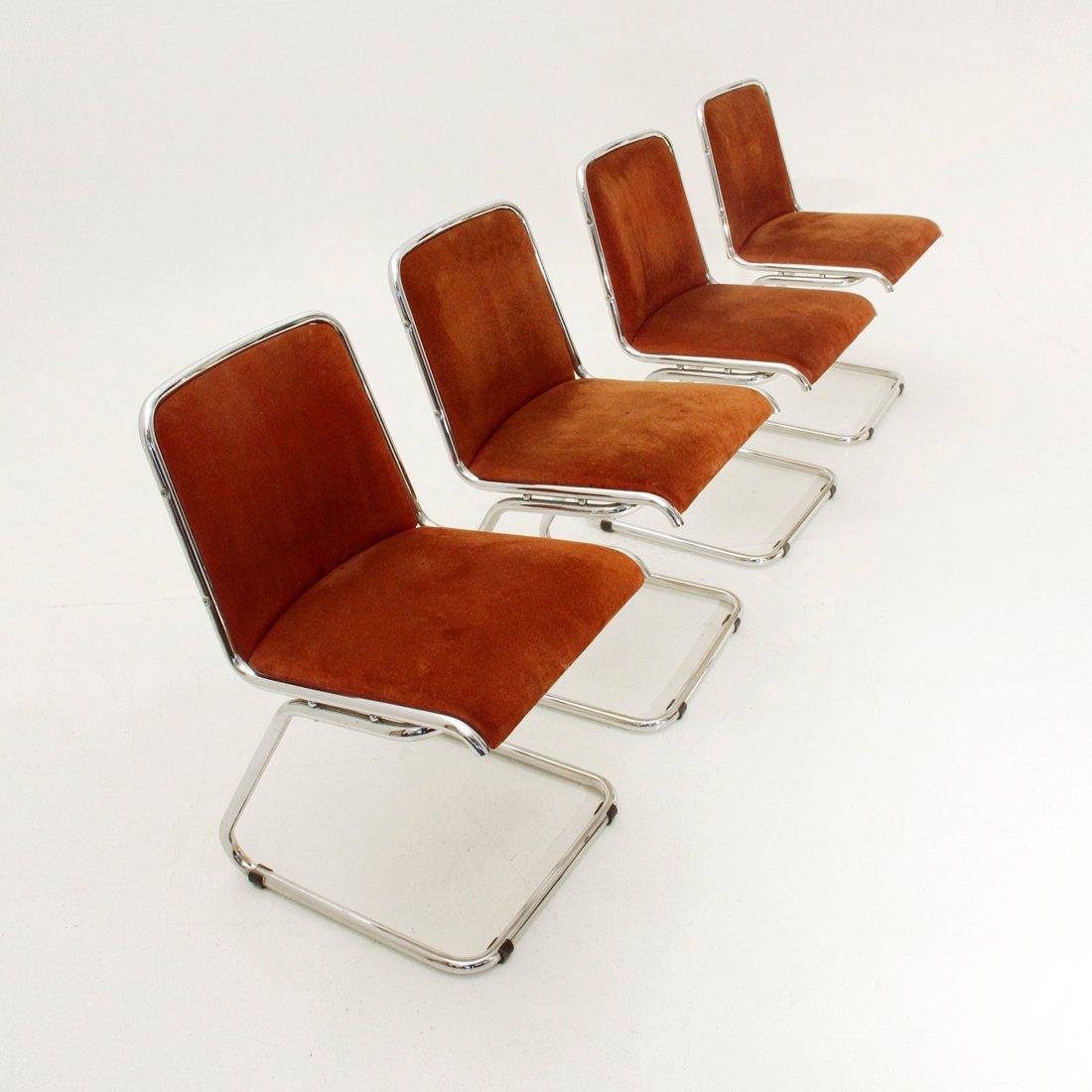 italienische esszimmer st hle aus chrom wildleder 1970er 4er set bei pamono kaufen. Black Bedroom Furniture Sets. Home Design Ideas