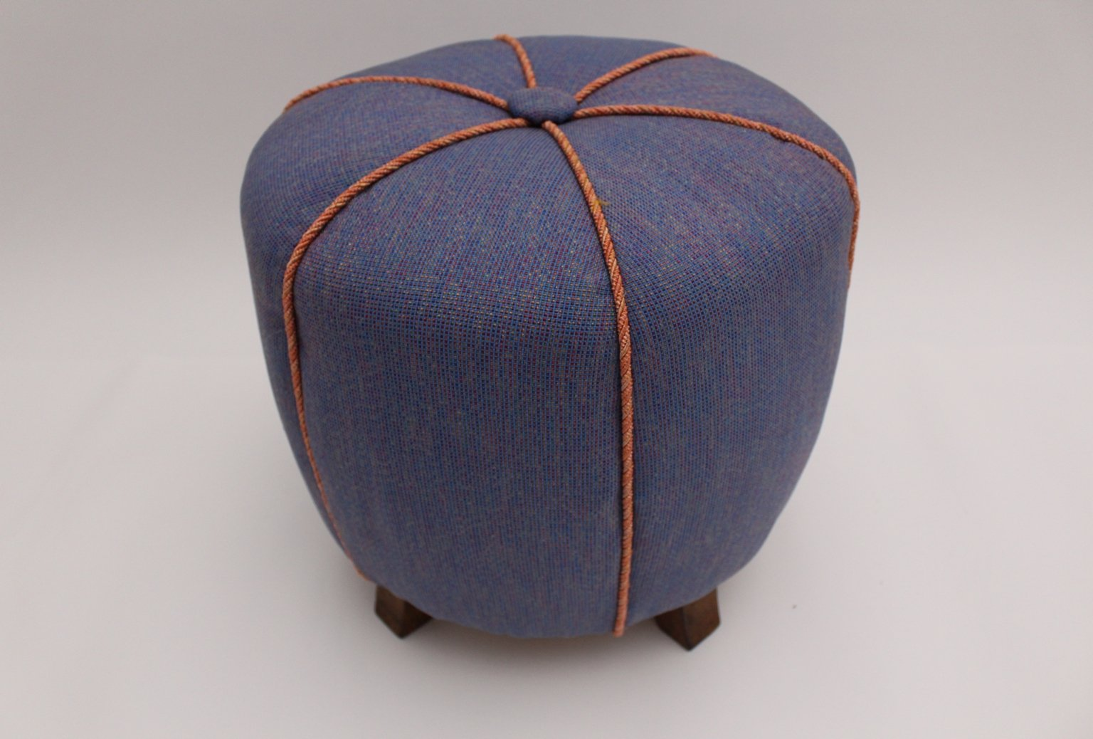 blue art deco pouf 1930s for sale at pamono. Black Bedroom Furniture Sets. Home Design Ideas