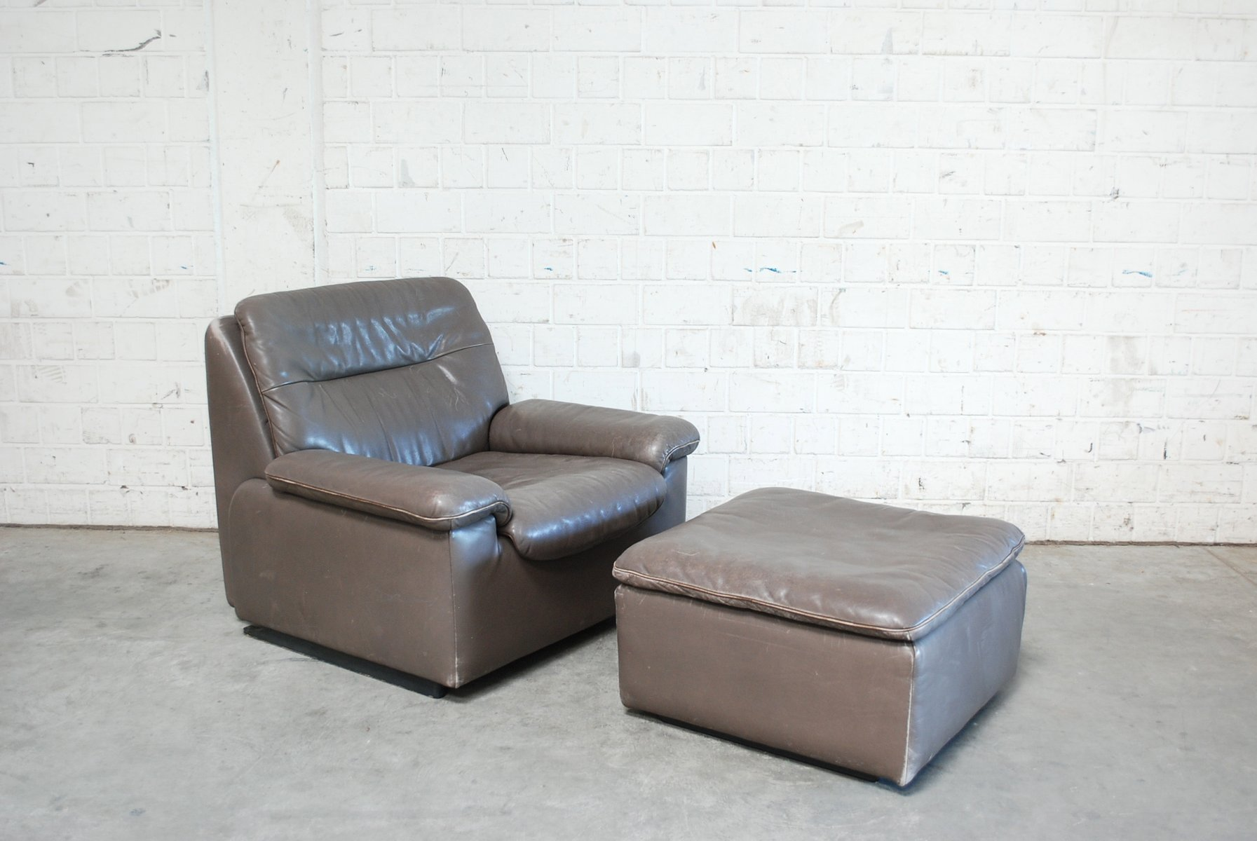 Superb Swiss Grey Leather Lounge Chair U0026 Ottoman From De Sede, 1980s