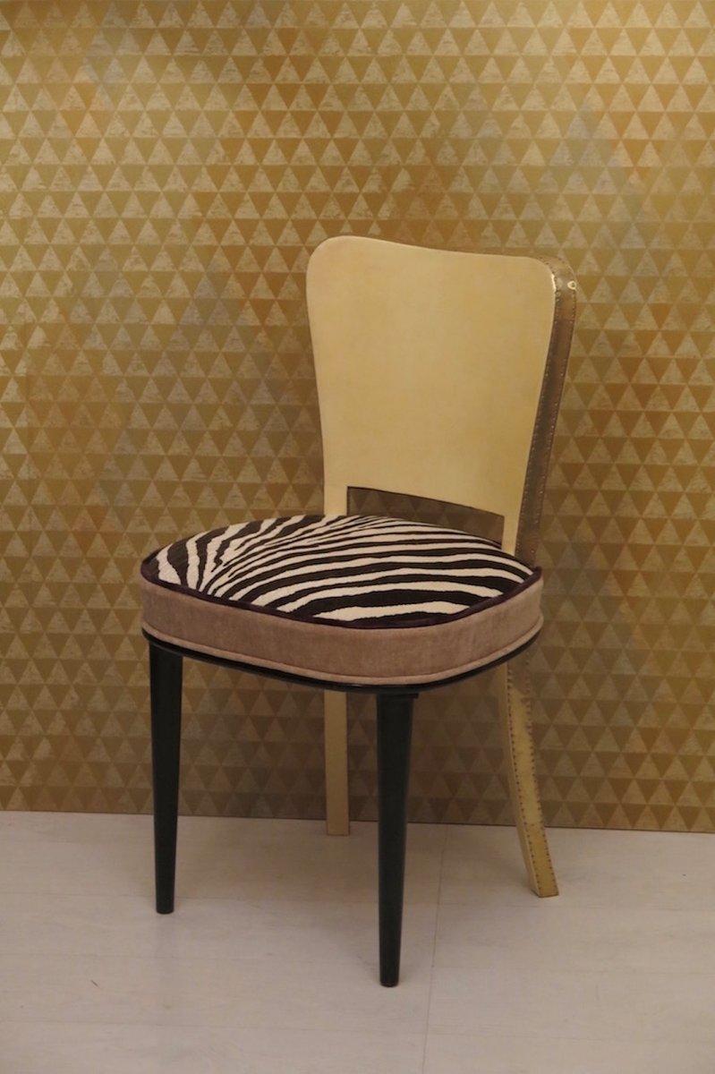 art deco st hle aus pergament messing 1940er 6er set. Black Bedroom Furniture Sets. Home Design Ideas