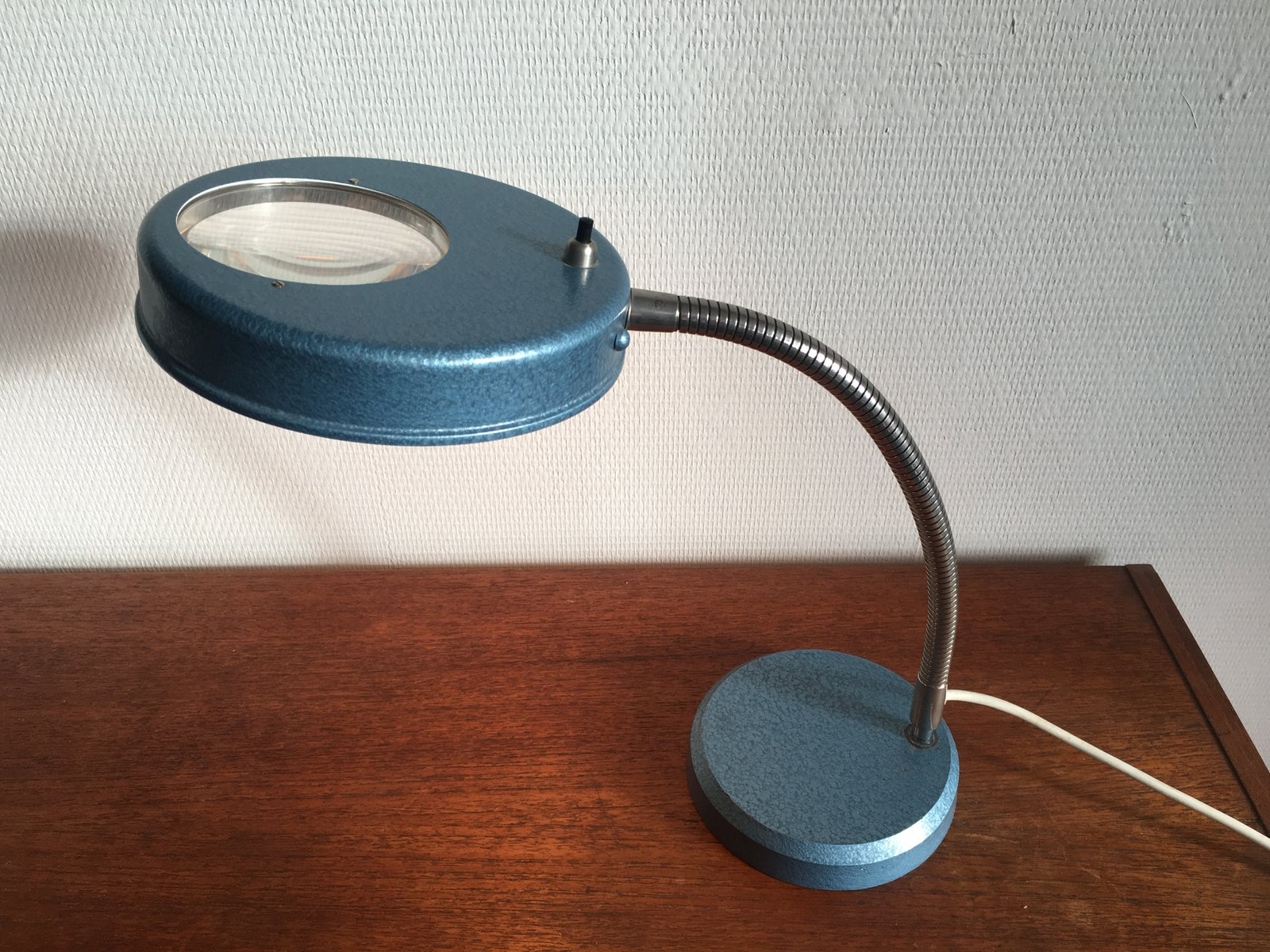 Vintage Industrial Desk Lamp With Magnifying Glass, 1950s For Sale At Pamono