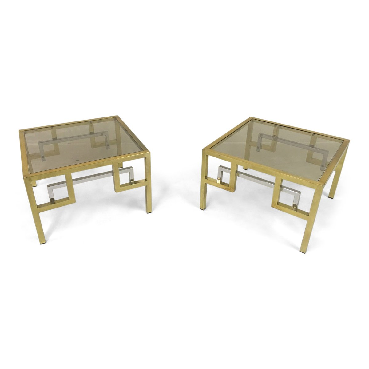Vintage Gilt Metal And Chrome Side Tables From Belgo Chrom, Set Of 2