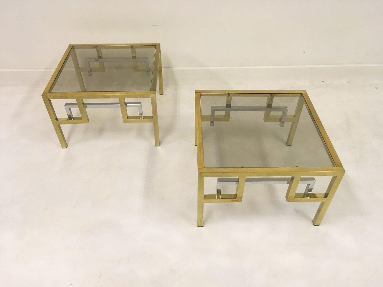 vintage beistelltische aus vergoldetem metall chrom von. Black Bedroom Furniture Sets. Home Design Ideas