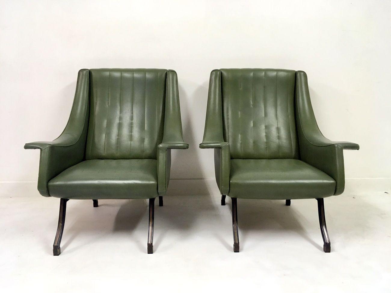italienische sessel mit f en aus metall 1960er 2er set bei pamono kaufen. Black Bedroom Furniture Sets. Home Design Ideas