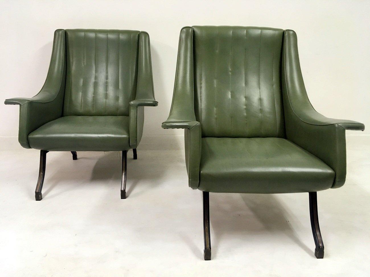 Italienische sessel mit f en aus metall 1960er 2er set for Sessel italienisches design
