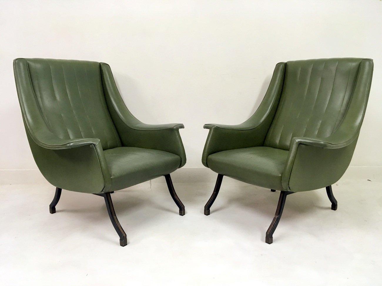 italienische sessel mit f en aus metall 1960er 2er set. Black Bedroom Furniture Sets. Home Design Ideas