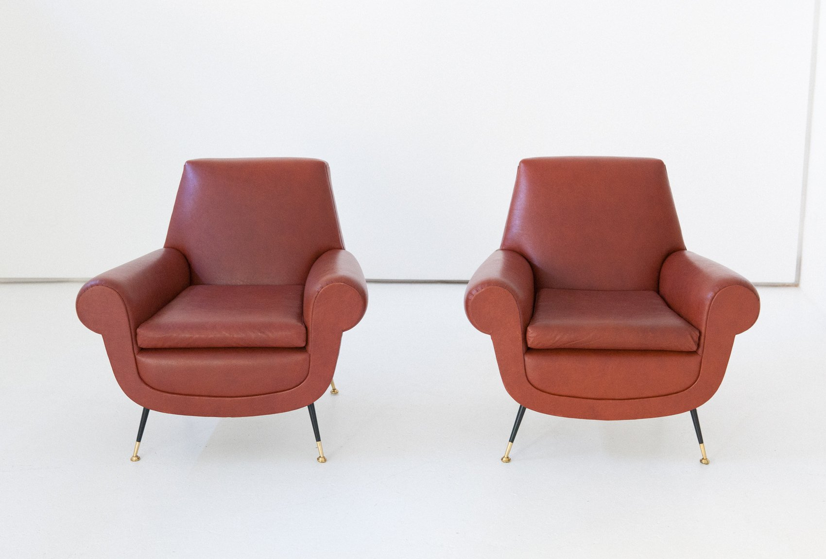 Italian Faux Leather Armchairs By Gigi Radice For Minotti, 1950s, Set Of 2