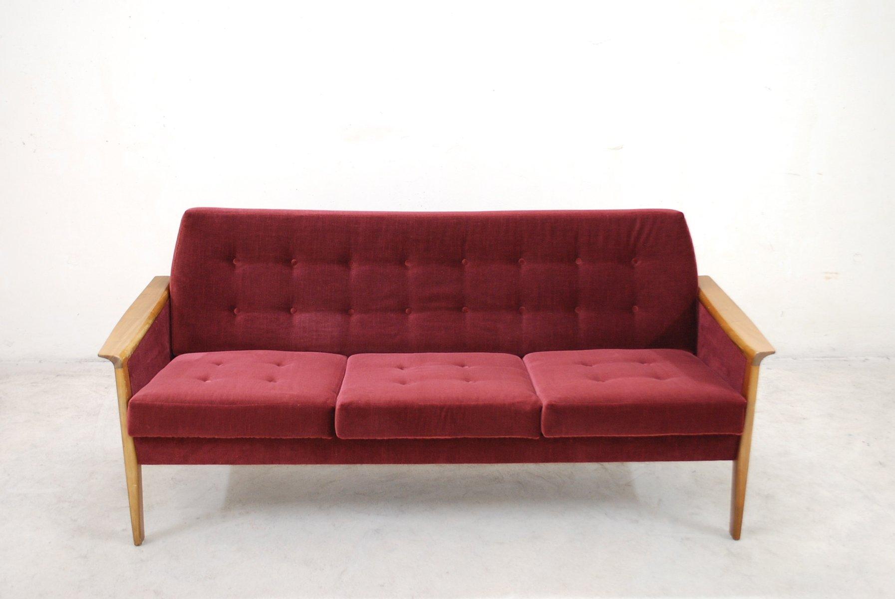 vintage sofa aus kirschholz von wilhem knoll bei pamono kaufen. Black Bedroom Furniture Sets. Home Design Ideas