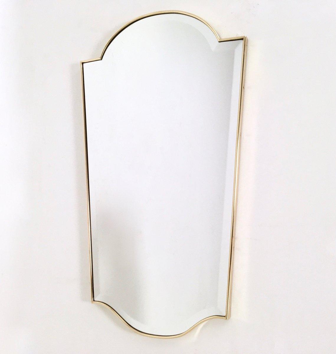 abgeschr gter spiegel mit rahmen aus messing 1950er bei. Black Bedroom Furniture Sets. Home Design Ideas