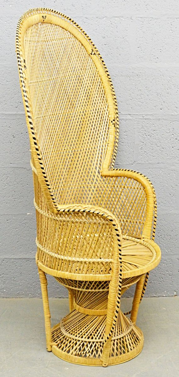 mid century rattan peacock sessel 1970er bei pamono kaufen. Black Bedroom Furniture Sets. Home Design Ideas
